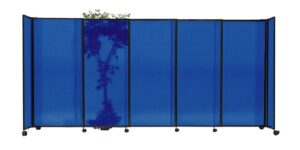 An image of the Blue Sliding Polycarbonate Partition