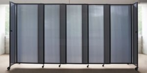 An image of the Grey Sliding Polycarbonate Partition