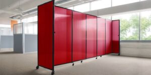 An image of the Red Sliding Polycarbonate Partition