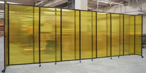 An image of the Yellow Sliding Polycarbonate Partition