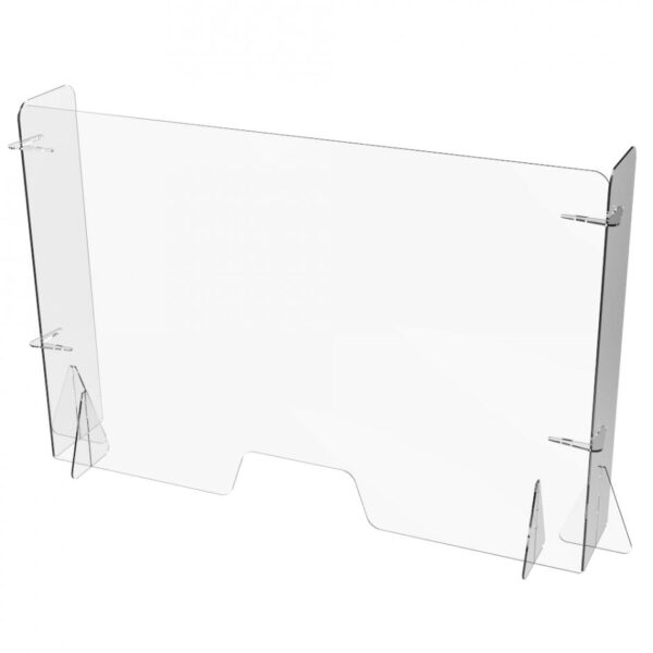 Free Standing Clear Perspex Counter Top Sneeze & Cough Guard With Returns