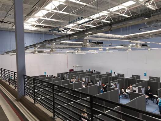 Image of modular wall systems in the exam hall at Warwick University.